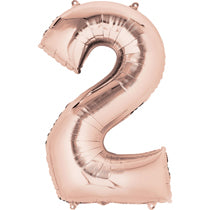 Rose Gold Number 2 Balloon - 40inches (Two) - PartyMonster.ae