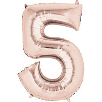 Rose Gold Number 5 Balloon - 40inches (Five) - PartyMonster.ae