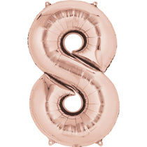Rose Gold Number 8 Balloon - 40inches (Eight) - PartyMonster.ae