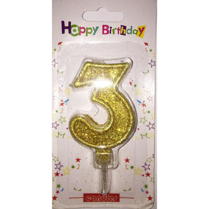 Number 3 birthday candle, golden glitter - PartyMonster.ae