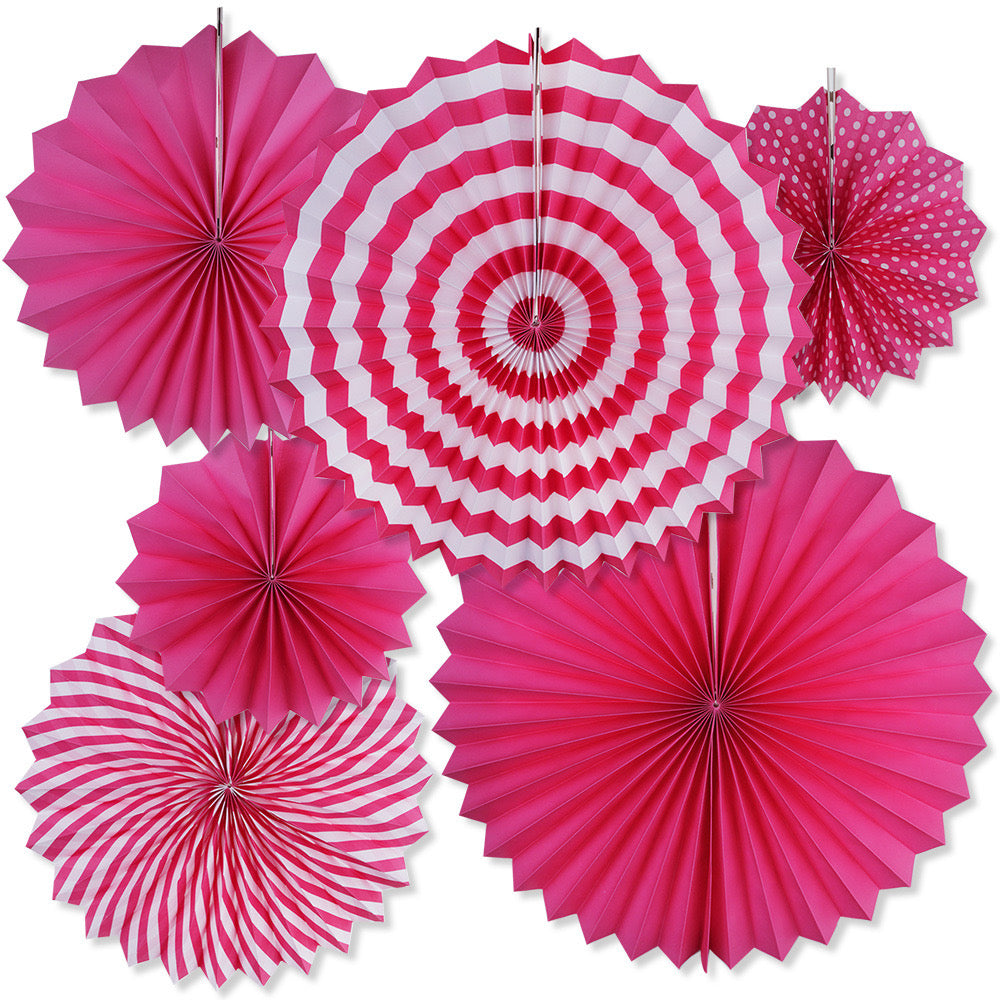 Hot pink paper fans hanging decor for sale online in Dubai