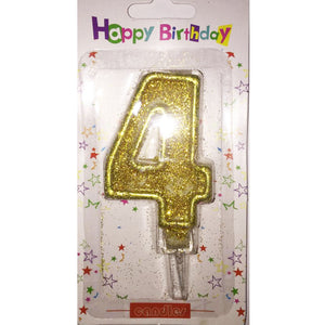 Number 4 birthday candle, golden glitter - PartyMonster.ae