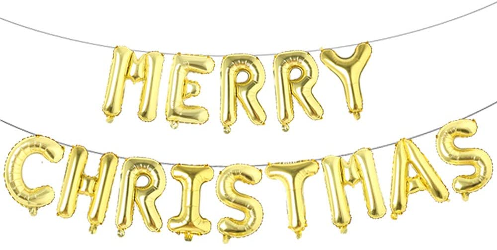 Merry Christmas Golden Balloons Bunting Set
