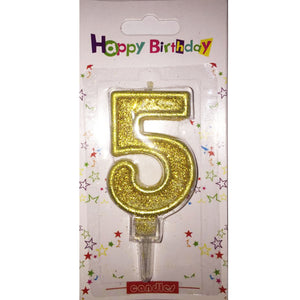 Number 5 birthday candle, golden glitter - PartyMonster.ae