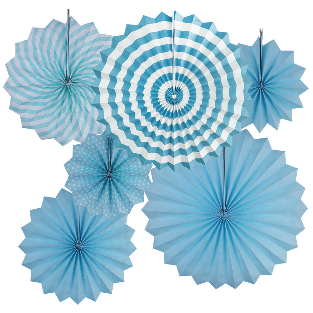 Baby blue paper fans hanging decor for sale online in Dubai