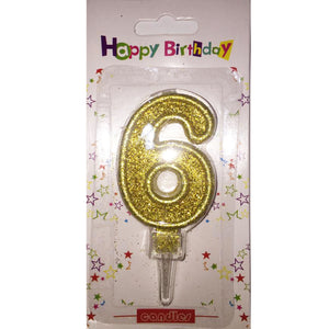 Number 6 birthday candle, golden glitter - PartyMonster.ae