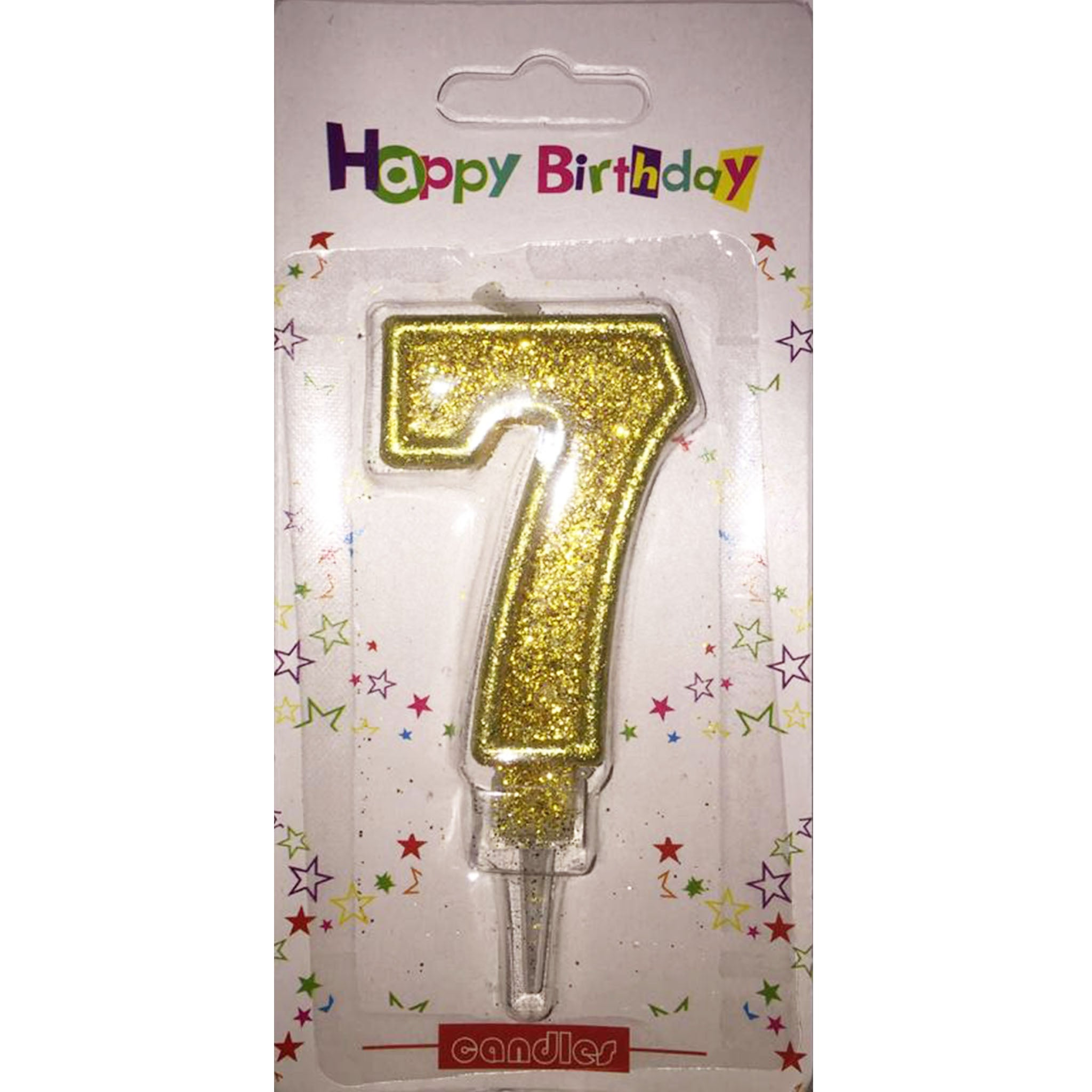 Number 7 birthday candle, golden glitter - PartyMonster.ae