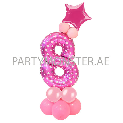 Any pink number balloon pillar - PartyMonster.ae