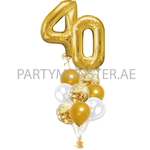 Any double digit golden numbers balloons bouquet - PartyMonster.ae
