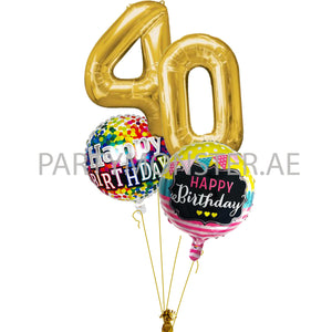 Any golden numbers birthday balloons bouquet - PartyMonster.ae