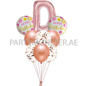 Any rose gold alphabet balloons bouquet - PartyMonster.ae
