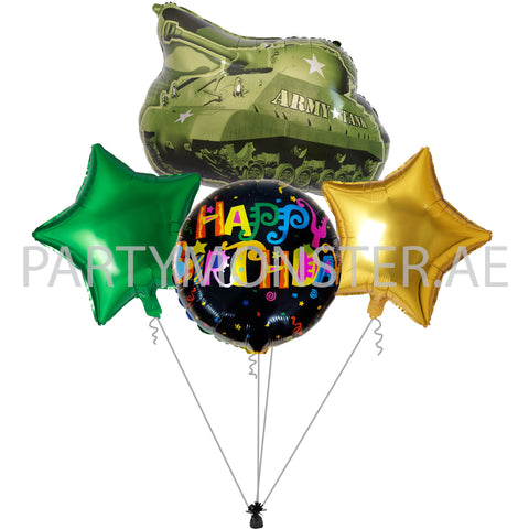 army themed balloons and party supplies in Dubai