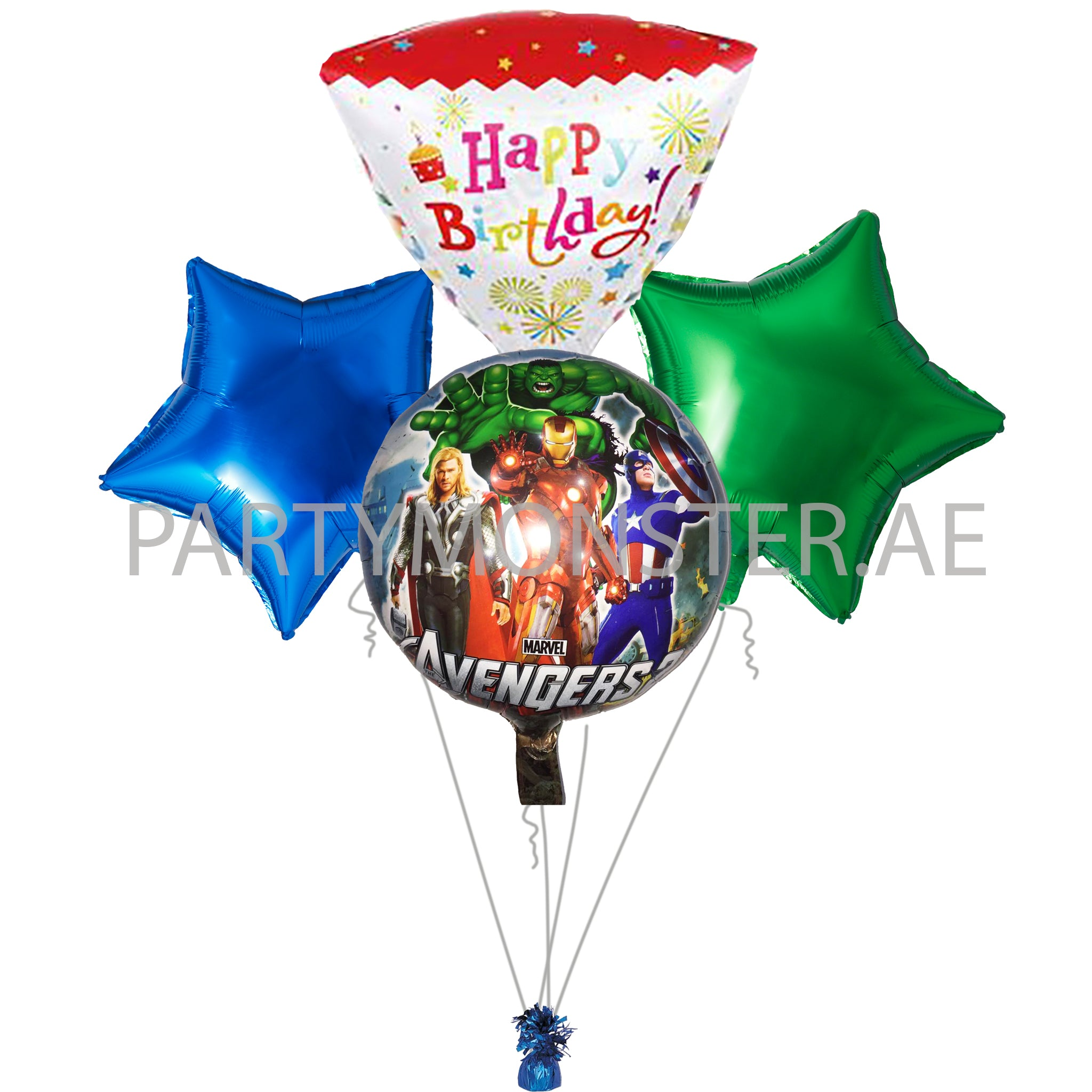 Avengers birthday balloons bouquet - PartyMonster.ae