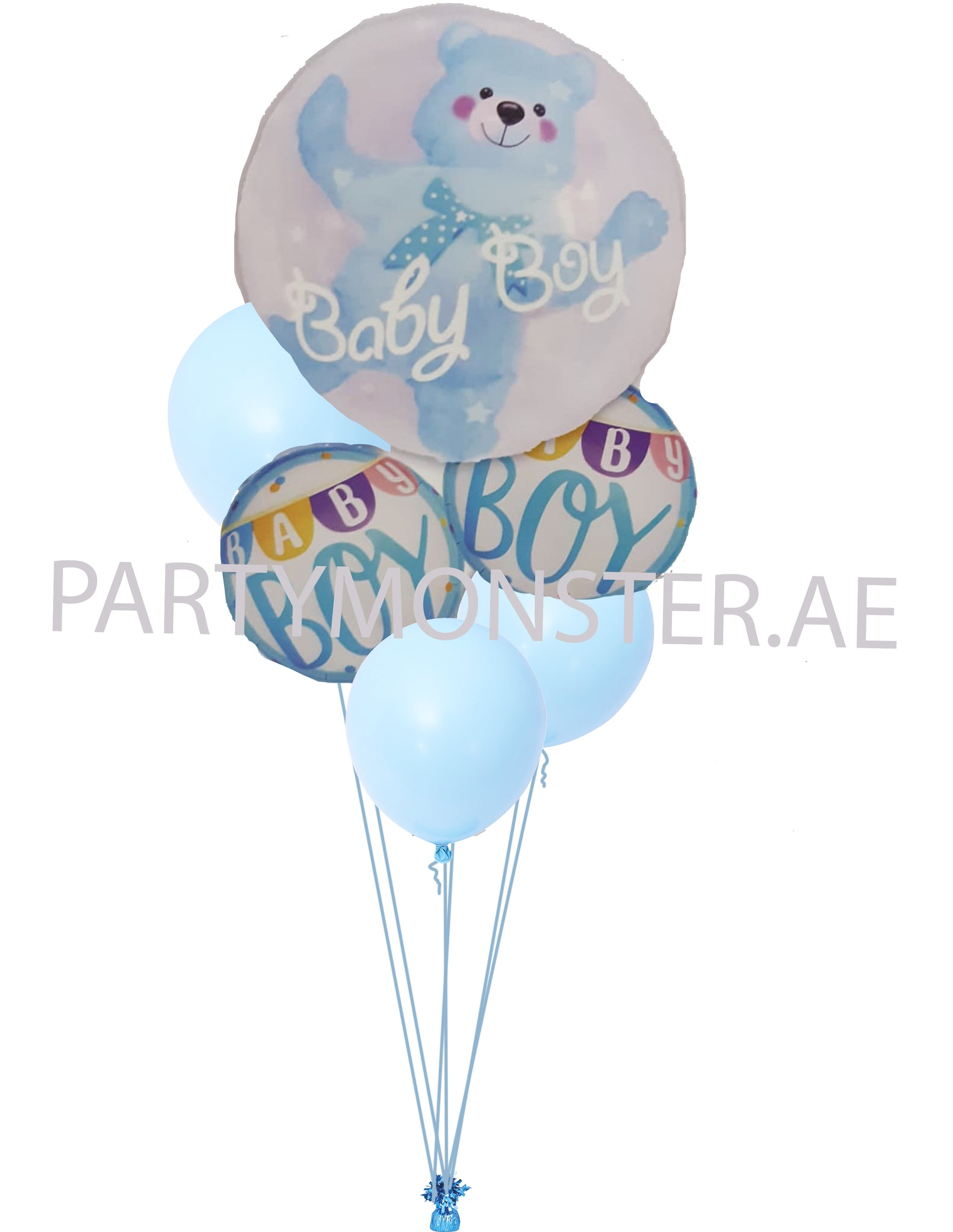 Baby Boy Teddy in a Bubble Balloons Bouquet for sale online in Dubai