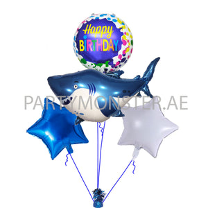 Baby Shark birthday balloons bouquet - PartyMonster.ae