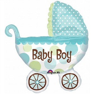 Baby Boy Pram - 31in - PartyMonster.ae