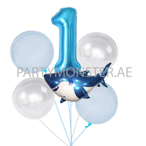 Baby Shark with any number birthday balloons bouquet - PartyMonster.ae