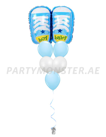 Baby boy shoes balloons bouquet - PartyMonster.ae