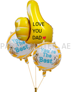 best dad thumbs up foil balloons bouquet for sale online in Dubai