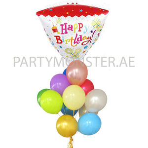 Birthday diamond shape foil and latex balloons bouquet 1 - PartyMonster.ae