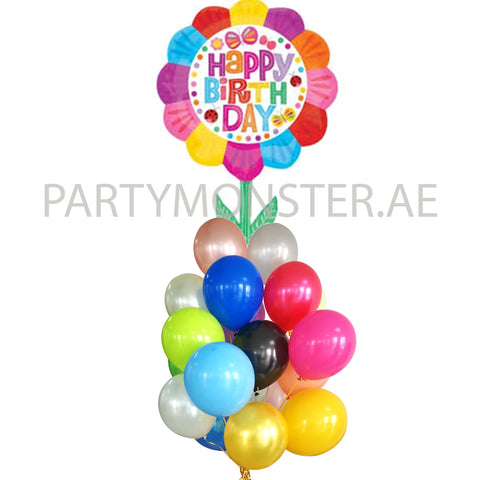Birthday flower balloons bouquet - PartyMonster.ae