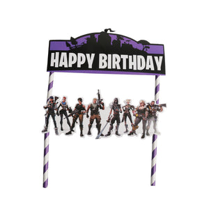 Birthday cake topper of fortnite theme - PartyMonster.ae