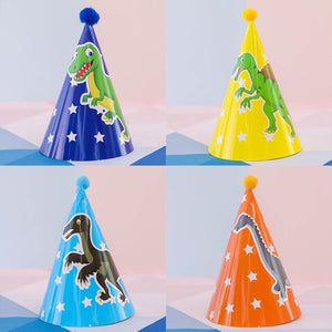 Party hats of dinosaur theme of 5bag of each design with 10pcs/bag - PartyMonster.ae