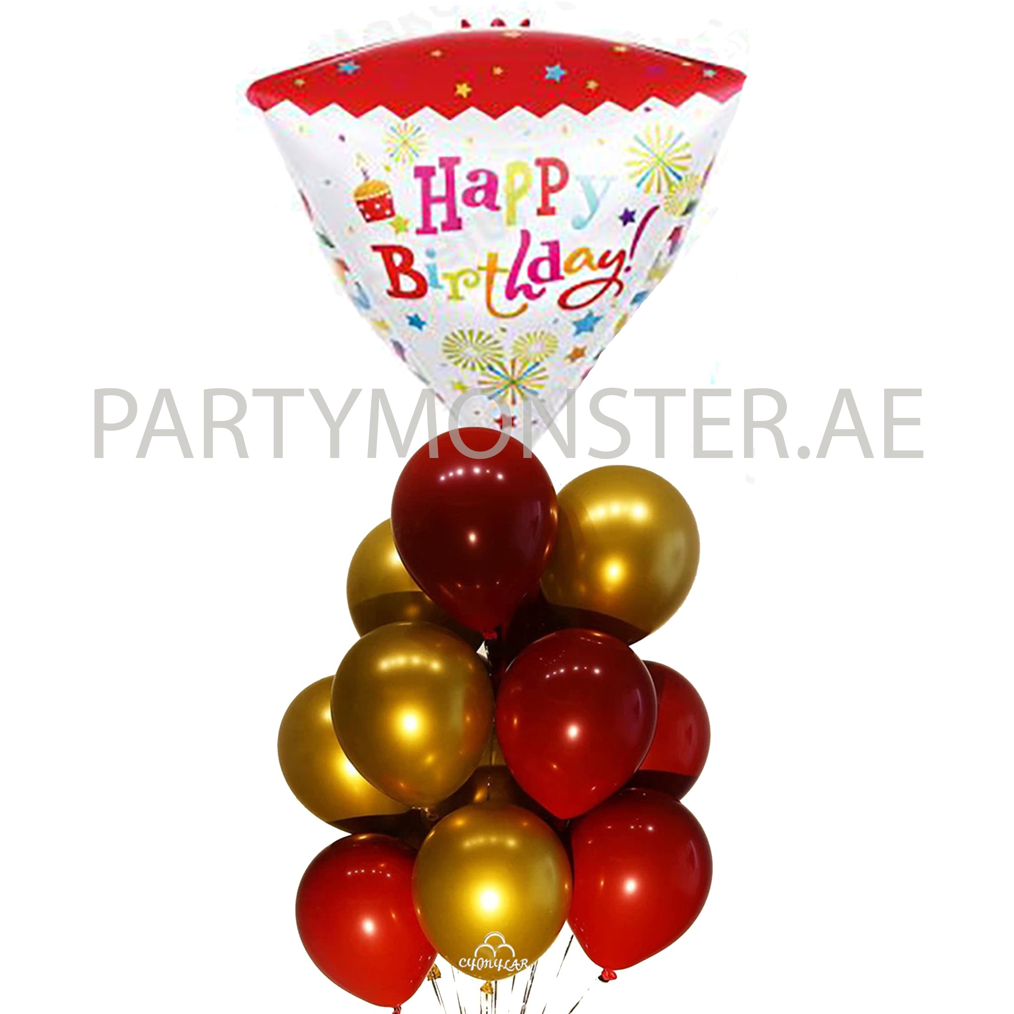 Birthday diamond shape foil and latex balloons bouquet 2 - PartyMonster.ae