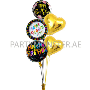 Black and gold birthday balloons bouquet - PartyMonster.ae