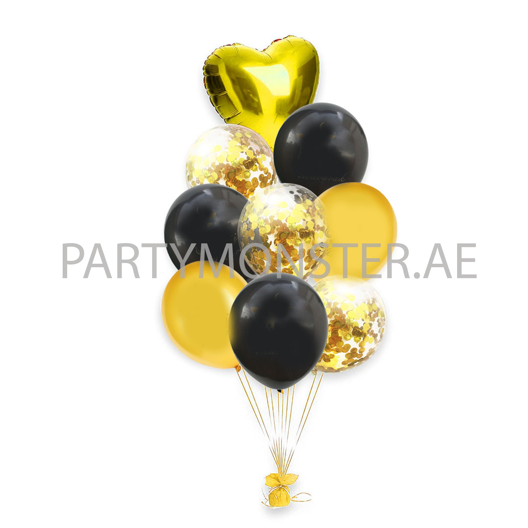 Black and golden mixed balloons bouquet - PartyMonster.ae