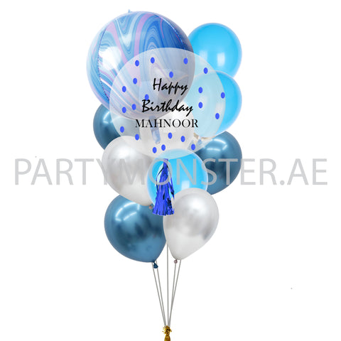 blue customized marble balloons bouquet delivery in Dubai