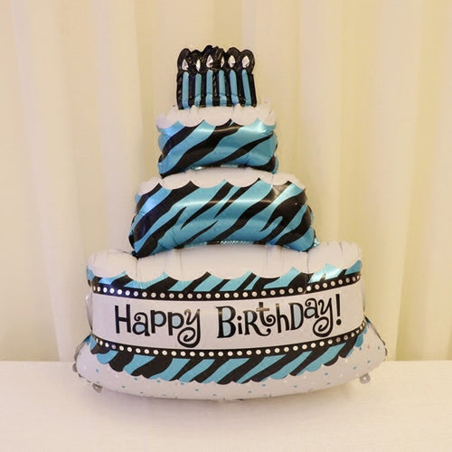 Blue Happy Birthday Tier Cake Foil Balloon - 40in - PartyMonster.ae
