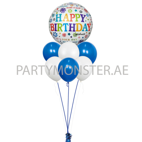 Blue and white happy birthday balloons bouquet - PartyMonster.ae