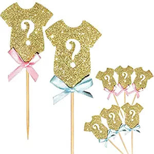 cake topper or cupcake topper 3 baby blue ribbon shirt and 3 baby girl ribbon shirt for baby shower - PartyMonster.ae