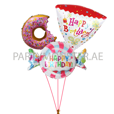 Candy themed birthday balloons bouquet - PartyMonster.ae