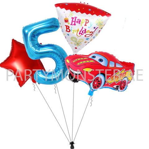 cars themed birthday balloons bouquet for sale online in Dubai