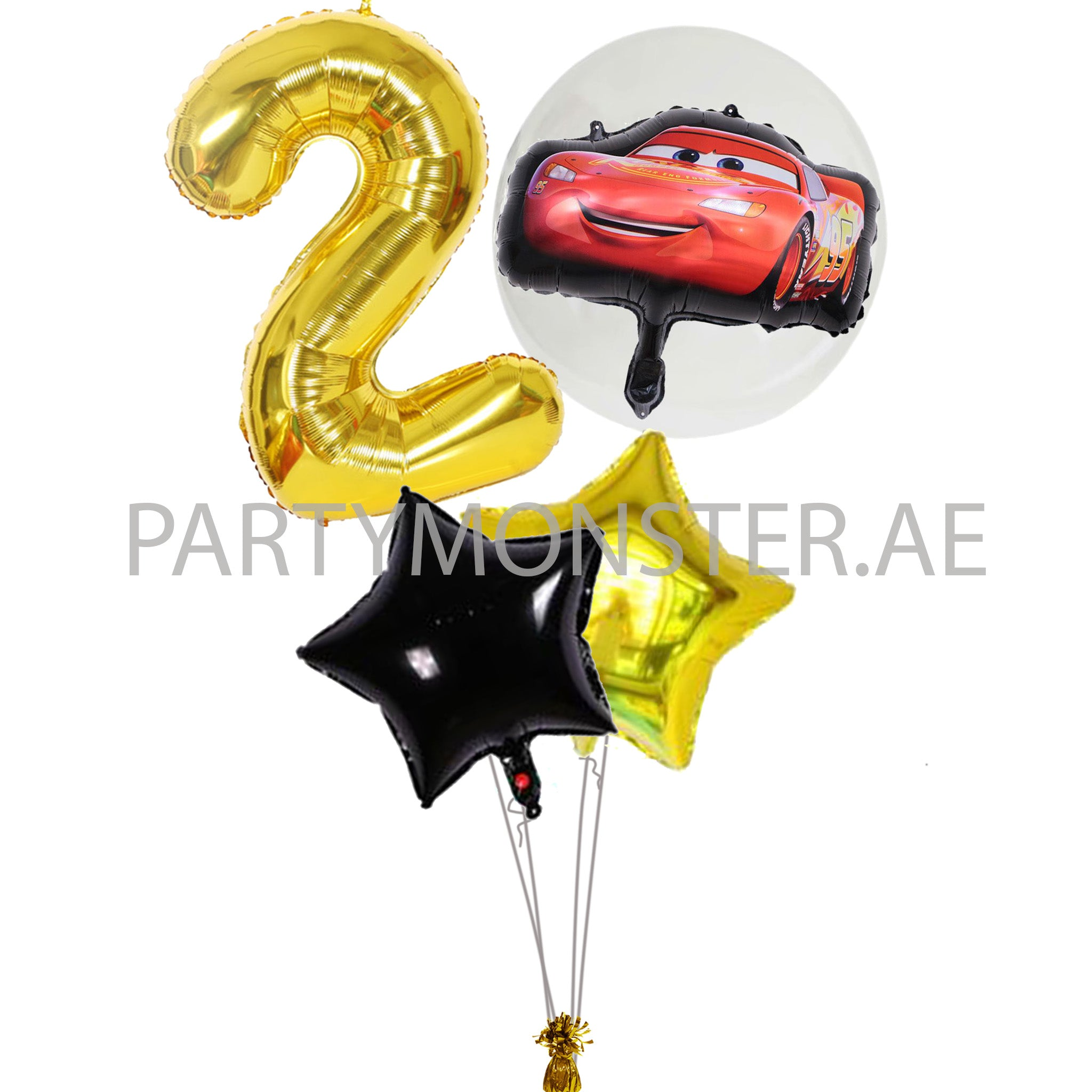Cars themed any number balloons bouquet - PartyMonster.ae