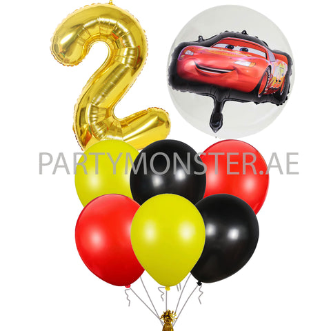 Cars themed any number mixed balloons bouquet - PartyMonster.ae