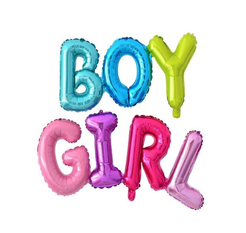 GIRL or BOY multi colored capital letter foil balloons 80*45cm - PartyMonster.ae