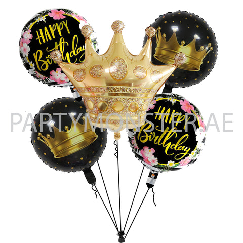 Crown birthday balloons bouquet for sale online in Dubai