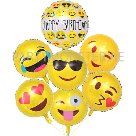 Emoji birthday foil balloons bouquet - PartyMonster.ae