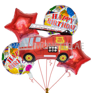 Fire Truck themed balloons bouquet - PartyMonster.ae