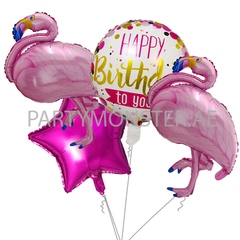 Flamingo birthday balloons bouquet - PartyMonster.ae
