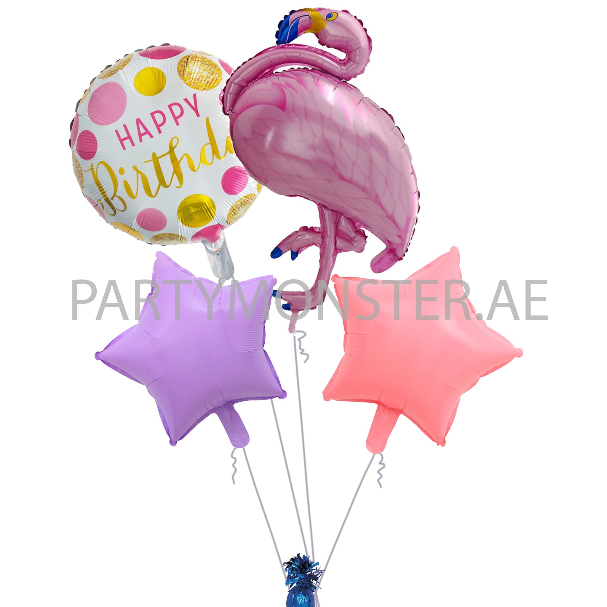 Flamingo birthday foil balloons bouquet - PartyMonster.ae