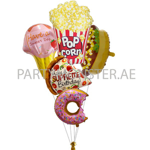 Foodie birthday balloons bouquet - PartyMonster.ae