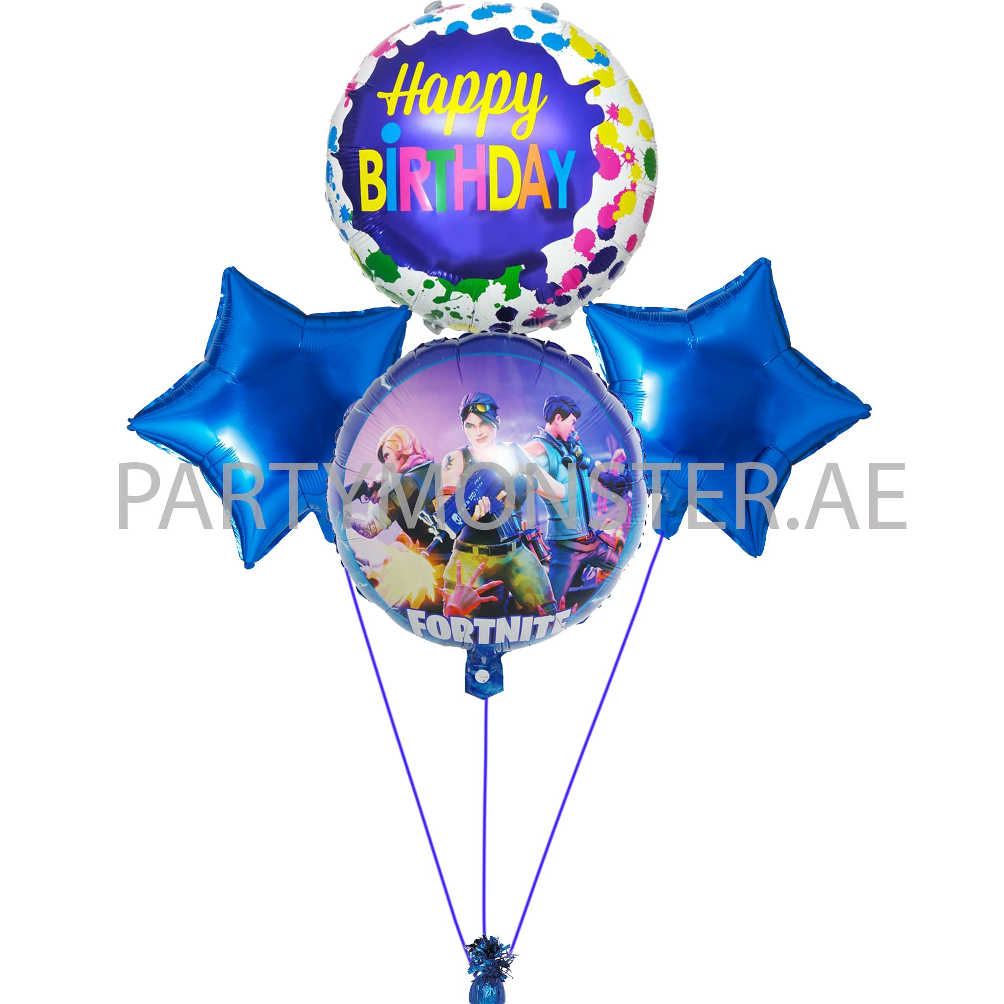 Fortnite birthday balloons bouquet - PartyMonster.ae