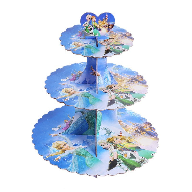 Frozen themed style 2 cupcake stand- 3 tier - PartyMonster.ae