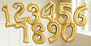 Golden Numbers Foil Balloons