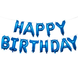 Blue Happy Birthday Balloons Bunting Banner Set - PartyMonster.ae