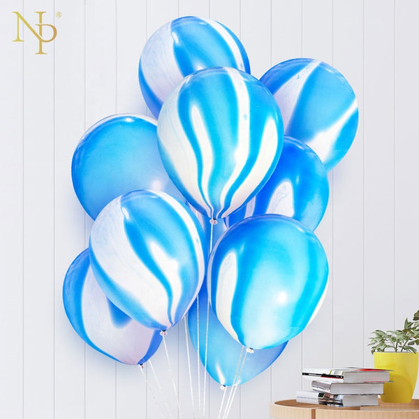 blue marble latex balloons bunch for sale online in Dubai